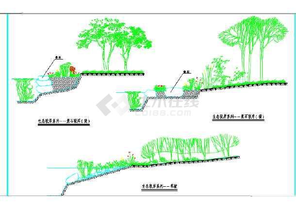 某地小型生态驳岸景观园林设计施工图