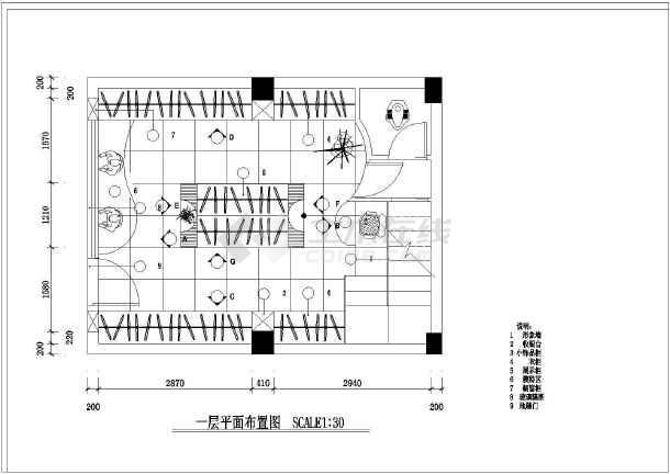 某典雅大方整套服装店室内装修设计cad施工图纸
