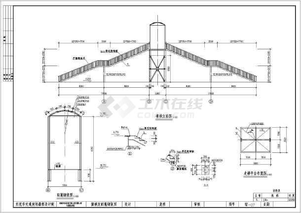 锚栓定位图,雨篷柱位布置平面图,雨篷结构布置立面图,主梁钢架结构图