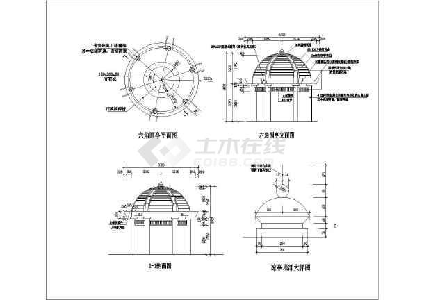 各种不同类型园林建筑细部构造详图