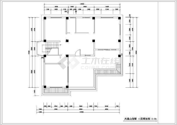 框架结构别墅(带夹层)室内装修设计施工图,包括:图纸目录,一层原始图