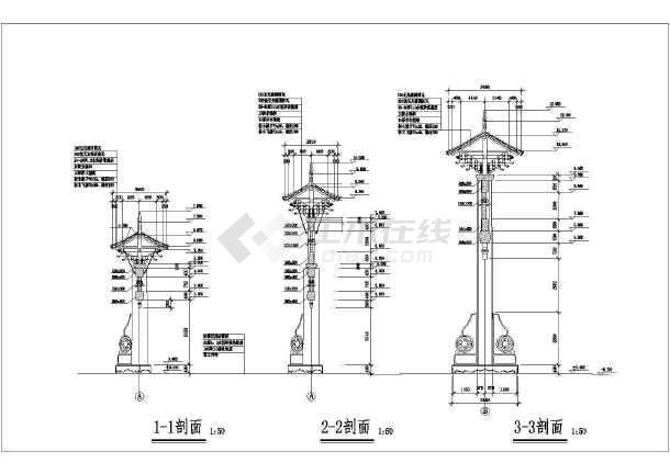 该工程为某中国特色古典牌坊建筑设计施工图,采用斗拱结构,内容包含