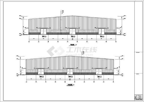 平方米钢结构厂房建筑设计方案图,内容包含:,屋顶平面图,各,各剖面图