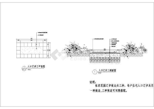 园林设计中的三种汀步施工图(含详图梯形平面cad剖面画怎样等腰图片