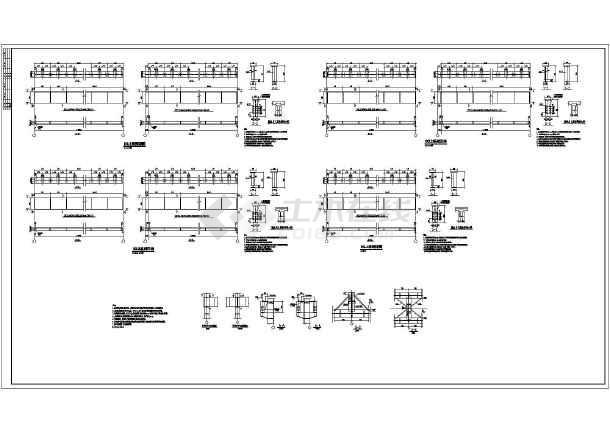 机型多双层多台图纸吨位钢结构施工图1(设计院75td输送吊车厂房带式图片