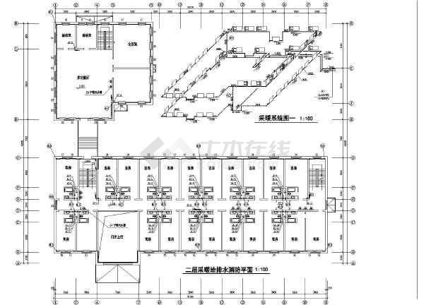 某宾馆给采暖给排水及消防管道设计施工图
