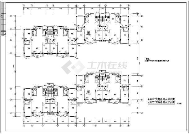 【浙江】某连体住宅楼给排水设计图-图1