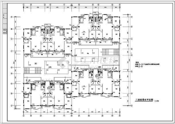 【浙江】某连体住宅楼给排水设计图-图2