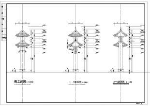 某市门楼建筑公园仿古CAD设计施工图纸1在比比例尺是30000的图纸图片