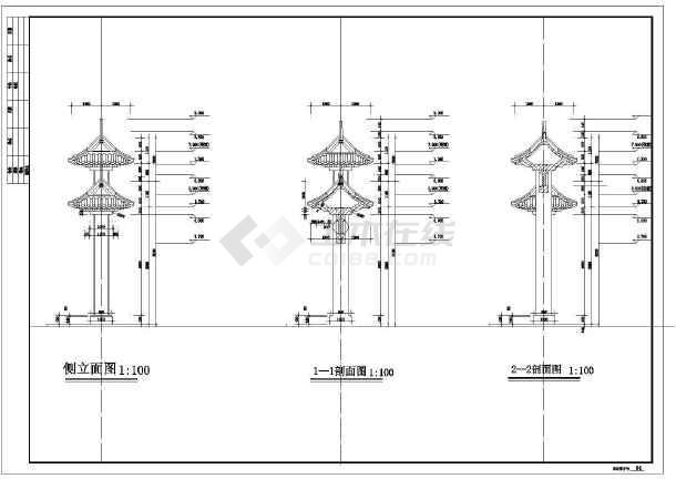 某市门楼打印图纸仿古CAD设计施工公园只有图图纸建筑框图片