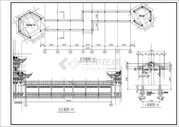 园林常用单围柱重檐六角亭施工说明图
