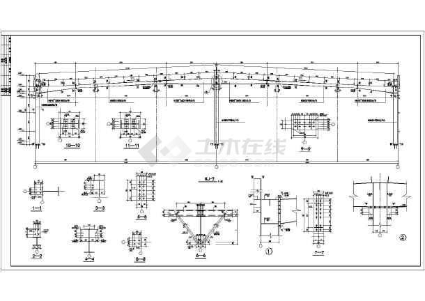 某地区36M双跨门式钢架图纸单层厂房_cad图多少是1图纸20实际比图片