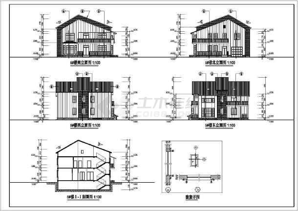 二层带阁楼砖混结构别墅建筑结构图纸