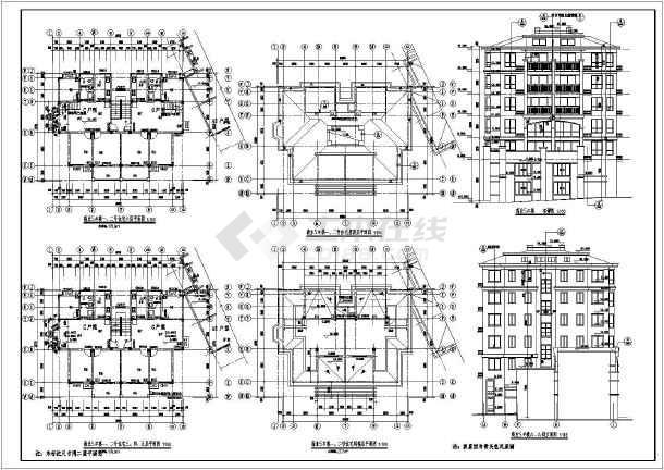 某地6层框结构坡屋顶住宅建筑设计扩初图