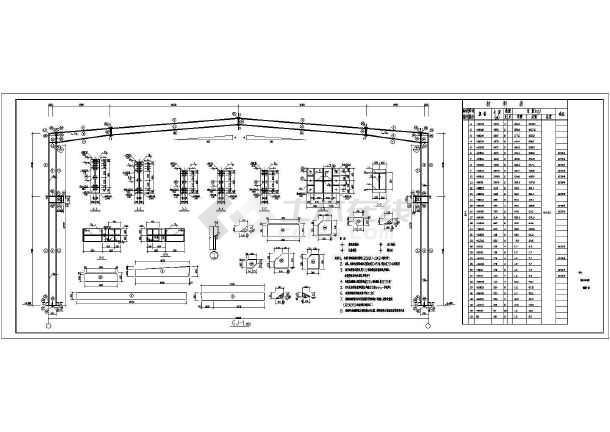 32米跨50吨行车厂房钢结构全套施工图