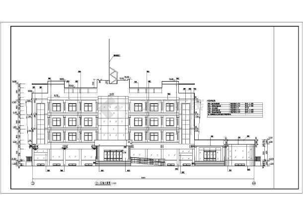 某地四层框架结构小宾馆建筑设计方案图