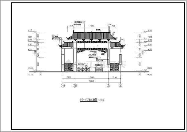 昆仑关仿古大门建筑结构全套设计图