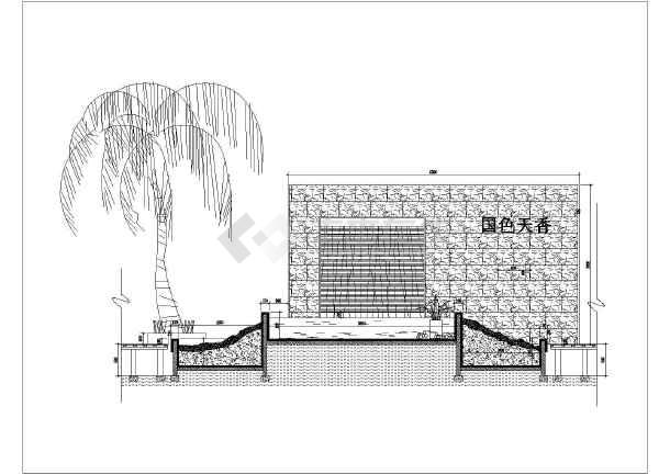 包括:景观墙顶,,景观墙吊顶图,侧立面图,景观墙平面尺寸图,景观墙剖面