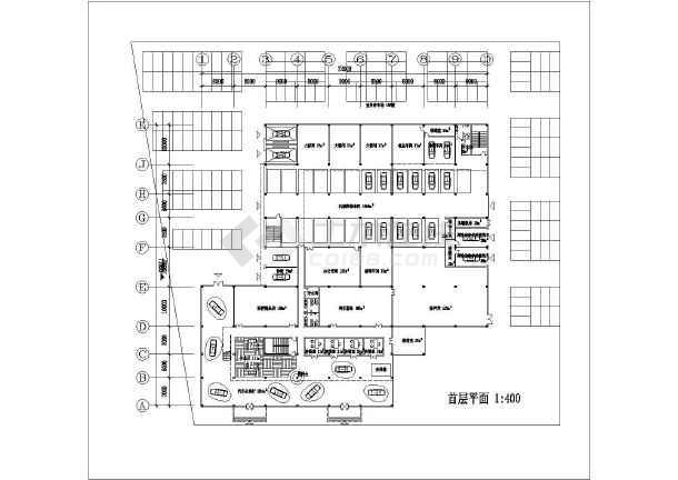 某地区三层汽车展厅建筑设计平面图
