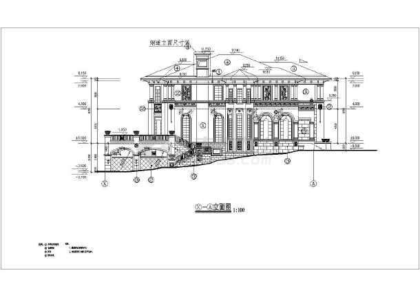 某地区二层欧式别墅建筑设计施工图_cad图纸下载-土木