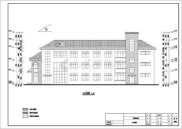 某小区三层框架结构物业管理房建筑施工图