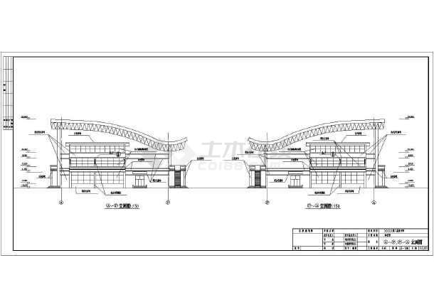 某地区三层中学体育馆建筑设计施工图图片