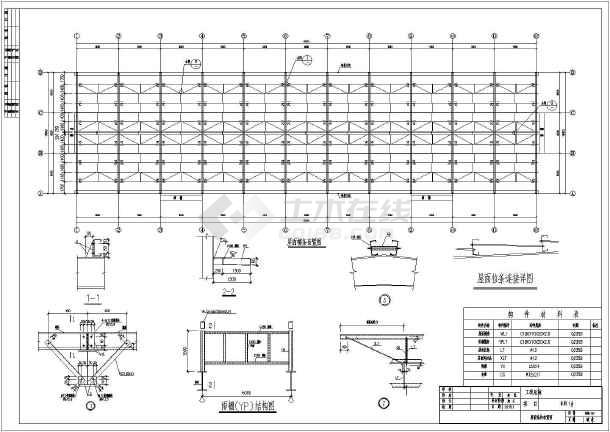 锚栓平面布置图, 屋面结构布置图,柱间支撑布置图,屋面檩条布置图