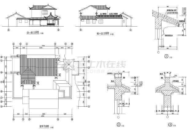 某二层古典型别墅建筑设计图(长22.1米 宽18.8米)