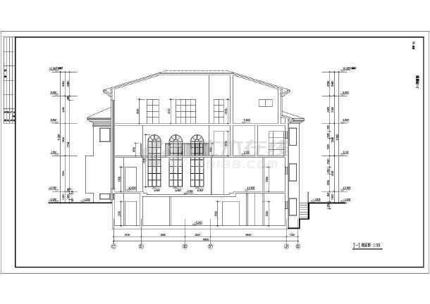 某带半地下室三层独栋别墅建筑设计图(含效果图)