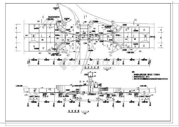 水闸剖面布置图,启闭机室层结构平面图,控制室层结构平面图,典型断面