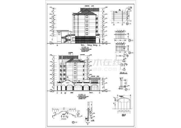 某小区六层底框结构商住楼建筑设计方案图