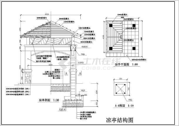 包含亭子的俯视图,亭子平面图,亭子剖面图,亭子立面图,亭子基础建筑