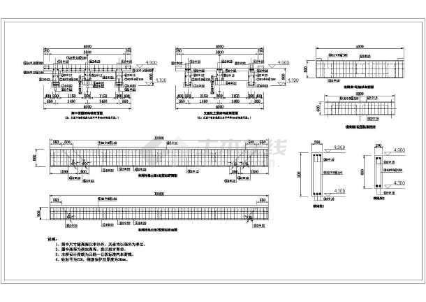 图纸包括:结构横断面图,纵断面图,单跨桥面板配筋平面图,桥台剖面图