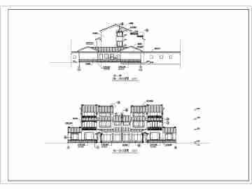 某地三层双拼别墅南方仿古风格建筑方案图