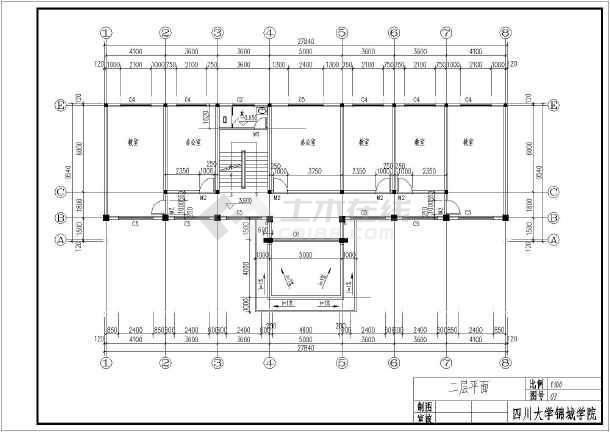 图纸 建筑图纸 教育建筑 中学教学楼设计图 某地区3层综合教学楼建筑图片