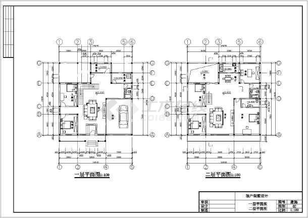 某地别墅砖混结构独户二层建筑设计图_cad图标准轴图纸轴承图片