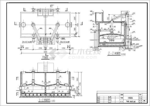250吨/图纸自来水厂中工小时结构计算图_cad管道安装建筑怎么哪些程量滤池图片