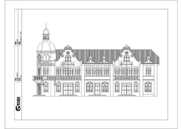 西式大型别墅建筑cad外立面设计施工图(欧式城堡风格)图片1