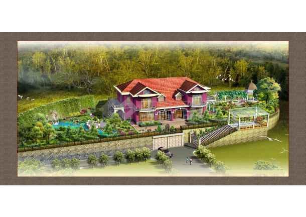 中式别墅庭院效果图