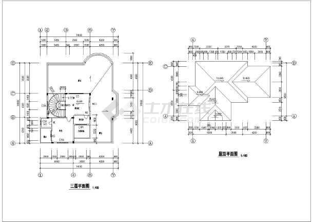 该为某三层新农村住宅楼建筑设计方案图,内容包含:各层,屋顶平面图