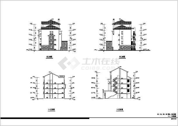 局部5层欧式住宅建筑方案设计图纸,图纸内容包含:各层平面图,立面图