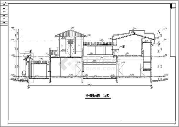 两层四合院设计图纸16x23 主楼二层四合院房屋设计图 两层四合院建