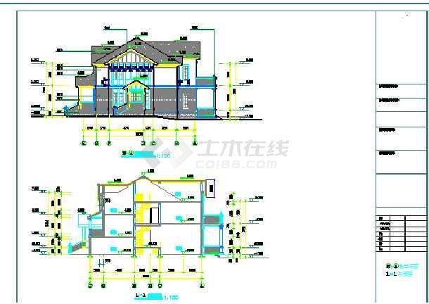 某欧式风格图纸的结构建筑全套别墅_cad图纸cad里怎么平方米打图片