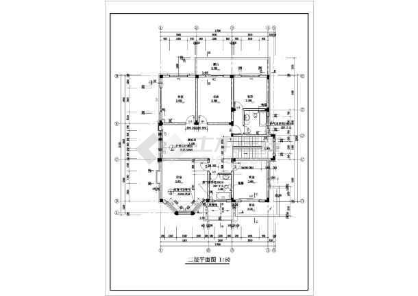 二层带阁楼现代风格住宅楼建筑施工图-图1