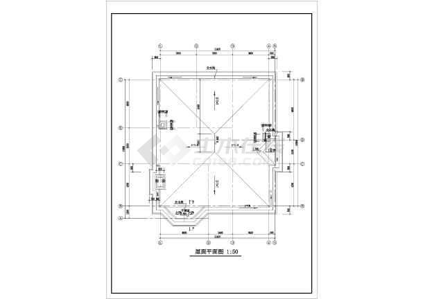 二层带阁楼现代风格住宅楼建筑施工图-图3