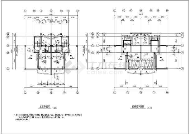 平屋顶带阁楼三层农村双拼房屋建筑设计图