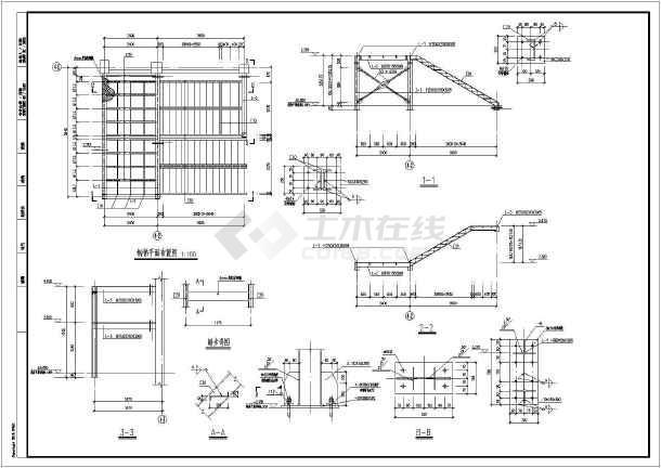 钢结构螺旋楼梯及直跑楼梯节点详图