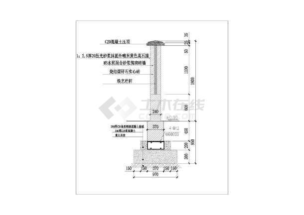 本图纸为围墙施工设计图纸(cad),内容包括:围墙平面图,围墙立面图,围