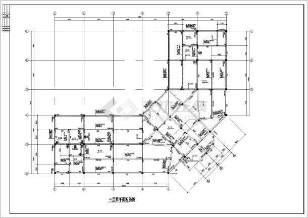 某办公楼三层框架结构设计施工图纸,包括结构设计说明,基础结构平面
