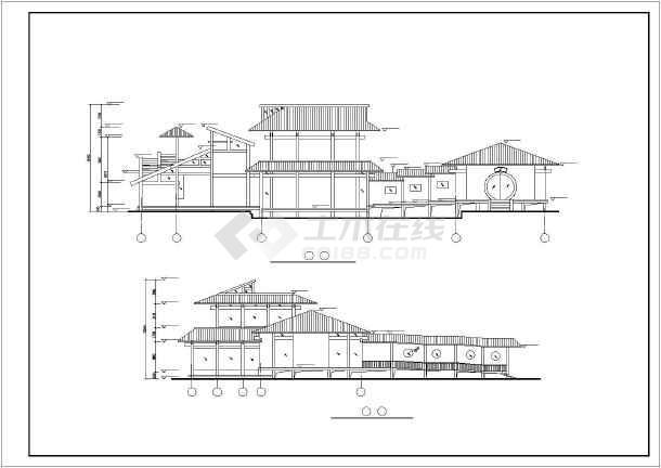 某地两层框架结构仿古茶楼建筑设计方案图